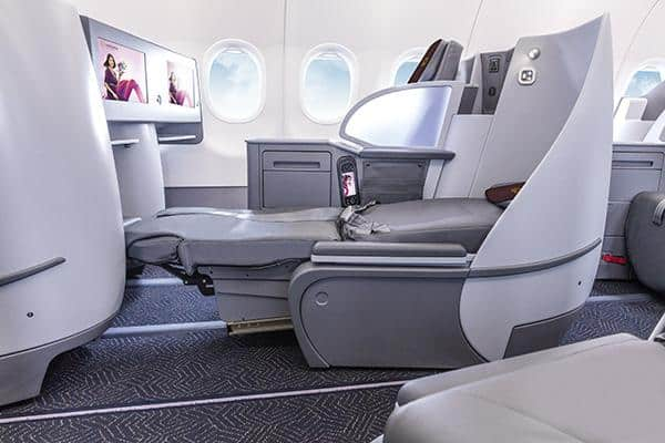Vistara A321neo business class featuring flatbed seats.