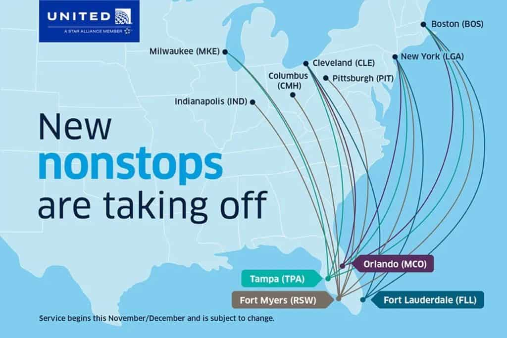United Airlines Nonstop Routes Winter 2020