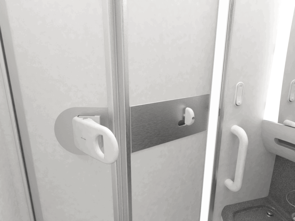 World's first hands-free lavatory door