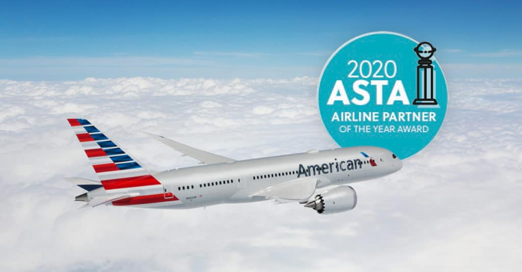 American Society of Travel Advisors (ASTA) named American Airlines its Airline Partner of the Year 2020