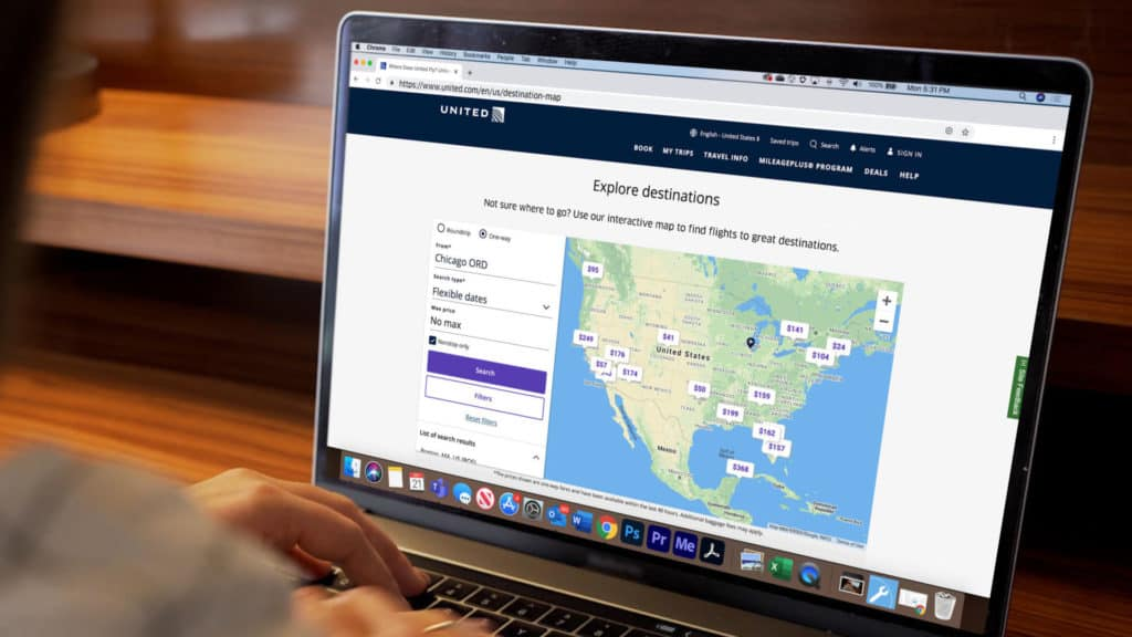 United interactive map feature powered by Google Flight Search Enterprise Technology