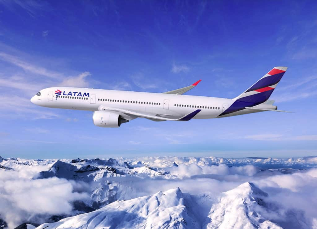 LATAM Airbus A350 over the Andes