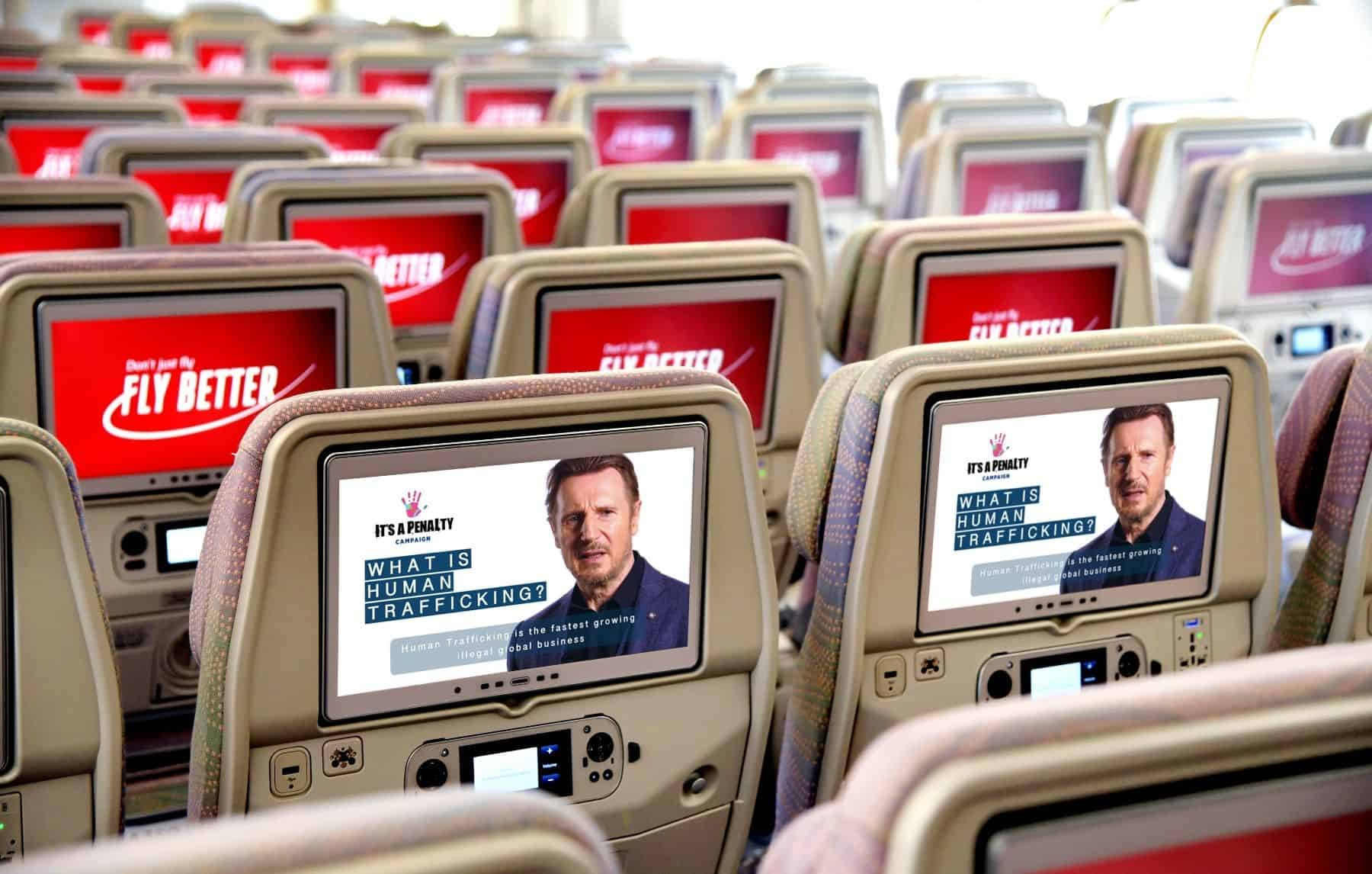 """Emirates is proud to support It's a Penalty's campaign's newest global film """"What is Human Trafficking_"""" launched in collaboration with actor Liam Neeson."""