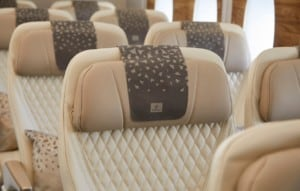 Emirates' Premium Economy seat features anti-stain leather and luxurious stitching details